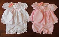 BABY GIRLS DRESS BLOOMER MOP HAT SUMMER OUTFIT SET PINK WHITE BRODERIE ANGLAISE