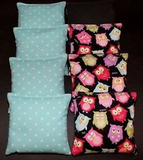 Colorful Owls Black and Polka Dots 8 ACA Regulation Corn Hole Game party  Bags