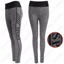 LADIES GREY MARL FLEECE LINE THICK SPORT LEGGING WOMENS YOGA GYM WORKOUT PANTS