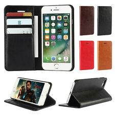 iPhone 7/7 Plus Case Genuine Leather Magnetic Wallet Folio Flip Leather Stand UK