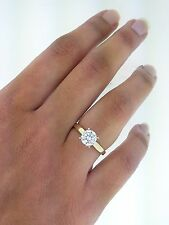 1.0 ct Round Cut Diamond Solitaire Engagement Ring 14K Solid Yellow Gold