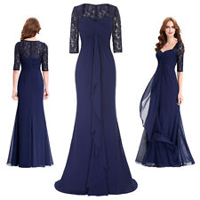Lace Chiffon Formal Evening Mother of Bride Party Cocktail Dress Long Maxi Gown