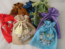 SILK BLEND EMBROIDERED GIFT/JEWELLERY POUCH BAG WITH DRAWSTRING - HEART DESIGN