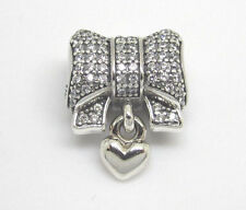GENUINE & AUTHENTIC PANDORA Silver Heart & Bow Charm. 791776CZ. 925 ALE.