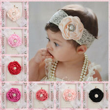 Kids Baby Girl Headwear Toddler Lace Pearl Flower Headband Hair Band Headwear OZ