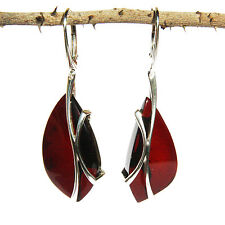 Designer Dark Honey/Green/Cherry Amber Earrings with single large amber pieces