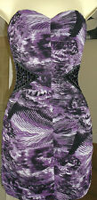 NEW LIPSY PURPLE STROBE STRAPLESS JEWEL DRESS Size 8