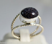 Black Gold Stone Pure 92.5 Solid Sterling Silver Handmade Ring Size 4-13 (US)