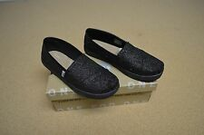 Toms Classic Black Glimmer Youth Girl's Shoes Slip On Flats