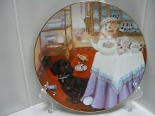 RETIRED Hamilton DACHSHUND Doxie Doxie and Cat Break Time Limited Edition Plate