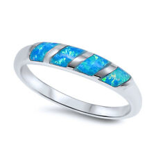 Fine 3mm Sterling Silver Simulated Blue Opal Band Ladies Ring