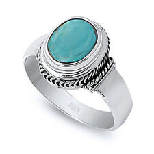 Fine Women 13mm 925 Silver Simulated Turquoise Vintage Style Cocktail Ring Band