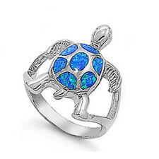 Fine Women 21mm 925 Sterling Silver Simulated Blue Opal Turtle Ring Band