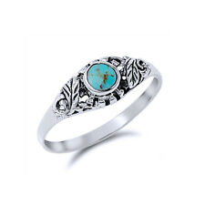 Fine Women 7mm 925 Sterling Silver Round Simulated Turquoise Promise Ring Band