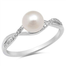 Fine Women 7mm 925 Sterling Silver Freshwater Cultured Pearl CZ Ladies Ring Band