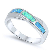 Fine Women 5mm 925 Sterling Silver Simulated Blue Opal Band Ladies Ring Band