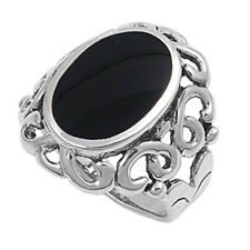Fine Women 26mm 925 Silver Simulated Black Onyx Ladies Cocktail Ring Band