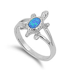 Fine Women 15mm 925 Sterling Silver Simulated Blue Opal Turtle Ring Band