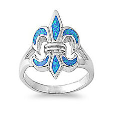 Fine Women 22mm 925 Sterling Silver Simulated Blue Opal Fleur De Lis Ring Band