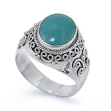 Fine Men Women 15mm 925 Silver Simulated Turquoise Vintage Cocktail Ring Band