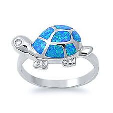 Fine Women 11mm 925 Sterling Silver Simulated Blue Opal Turtle Ladies Ring Band