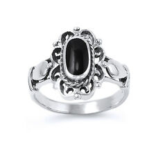 Fine Women 17mm 925 Silver Simulated Black Onyx Vintage Style Cocktail Ring Band