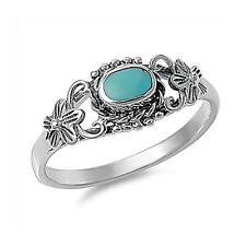 Fine Women 8mm 925 Silver Simulated Turquoise Vintage Style Promise Ring Band