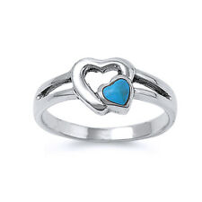 Fine Women 8mm 925 Silver Simulated Turquoise Double Heart Promise Ring Band
