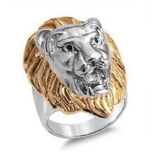 Men's Lion s Head - King of the Jungle Gold & Silver Stainless Steel Biker Ring