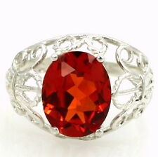 CLEMSON FANS! SR162, Created Padparadsha Sapphire, Sterling Silver Ladies Ring