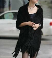 2017 Women's Real Farm Mink Fur Knitted Cape Wrap Scarf Shawl with Pocket Winter