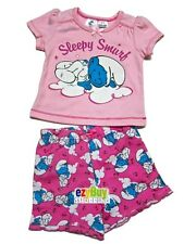 Smurfs Sleep Pink Licensed Summer Girls Pjs Pyjamas