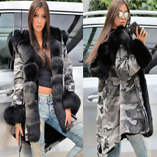Ladies Camouflage Style Jacket Winter Womens Warm Fur Lined Coat Parka Overcoat