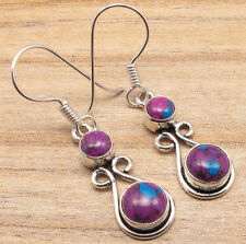 925 Silver Plated 2 STONE Earrings, PURPLE COPPER TURQUOISE & More Gem Choice
