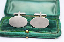 Vintage white metal cufflinks with an Art Deco style #C894