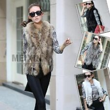 Real Knit Farm Rex Rabbit Fur Vest Gilet with Ussuri RACCOON Fur Hot Top Collar