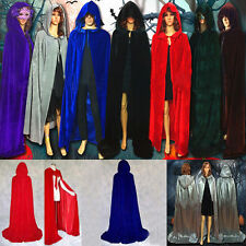 Velvet Hooded Long Cloak Cape Pagan Witch Wicca Wedding Vampire Halloween Dress