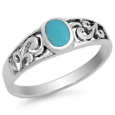 Men Women 6mm 925 Sterling Silver Turquoise Filigree Vintage Style Ring Band