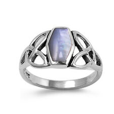 Women 11mm Sterling Silver Cultured Mother Pearl Celtic Vintage Style Ring Band