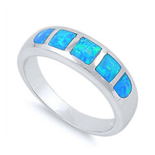 Women 6mm 925 Sterling Silver Blue Opal Band Ladies Vintage Style Ring Band