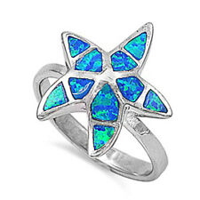 Women 18mm 925 Sterling Silver Blue Opal Starfish Ladies Vintage Style Ring Band