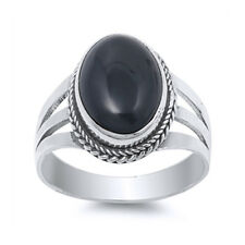 Men Women 17mm 925 Silver Oval Shape Black Onyx Cocktail Vintage Style Ring Band