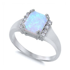 Women 10mm 925 Sterling Silver Square White Opal Ladies Vintage Style Ring Band