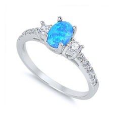 Women 6mm 925 Sterling Silver Oval Blue Opal CZ Ladies Vintage Style Ring Band