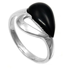 Women 15mm 925 Sterling Silver Black Onyx Heart Ladies Vintage Style Ring Band