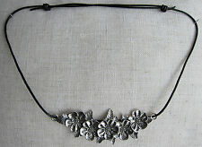 Leather Necklace, Sliding Knot Adjustable Length Double Cord with Flower Pendant
