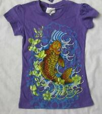 ED HARDY girls 4 5 kids purple koi fish rhinestone t-shirt tee top crystals NEW