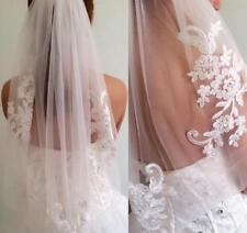 1T Elbow lace Applique Wedding Veil With Comb Bridal veils ivory White Vail