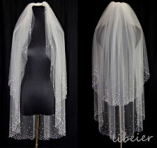 2T white / ivory Veil Bridal Fingertip With Comb Veils stick drill Crystal veil