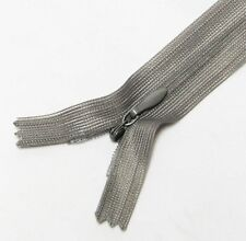 "Silver Grey 10"" / 25.5 cm. Closed End Invisible Zipper by 10 Zippers"